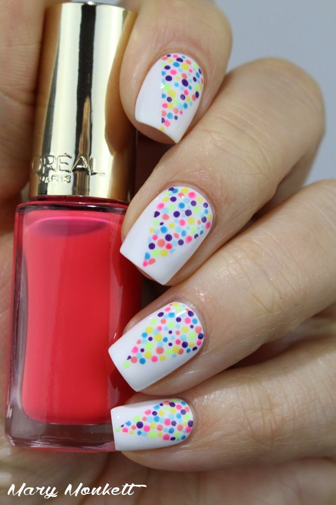 Multi Colour Dotticure ~ base is Essie 'Blanc' and nail art with small dotting tool and at least 7 different bright polish colours ~ by Mary Monkett