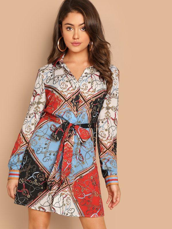 7c70bee7dd Scarf Print Self Belted Dress -SHEIN(SHEINSIDE) | II DRESSES <3 II ...