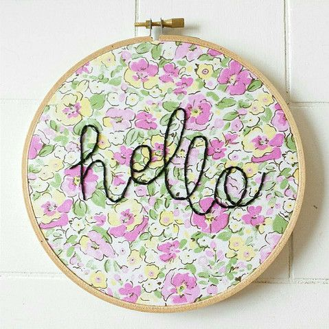 Hello Embroidery Hoop