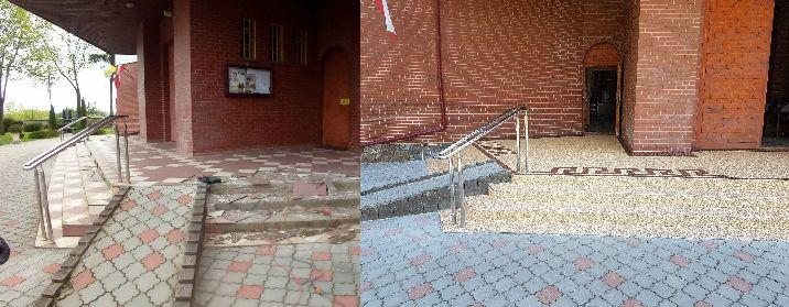 Oprava povrchu materiály TopStone před kulturním zařízení v Polsku, opravdu povedené, co říkáte?   #topstone #kamínkovýkoberec #mramorovýkoberec #exteriér #veřejnéprostranství #schody #vstup