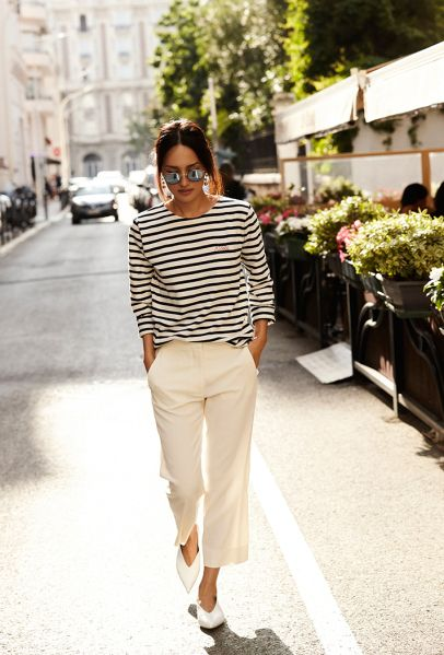 Breton Stripes Teamed With White Cigarette Trousers = The Perfect Pairing!