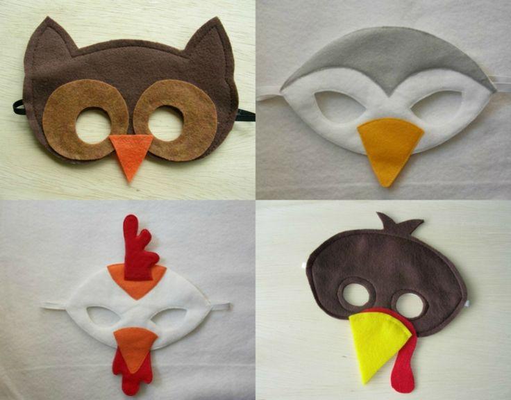 Vogelmasken- Eule, Huhn, Möwe und Spatz aus Filzstoff
