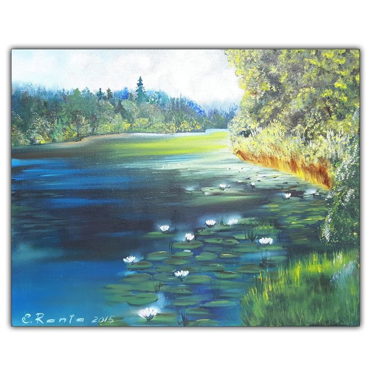 """Oil Paiting """"Forest's Lake"""""""