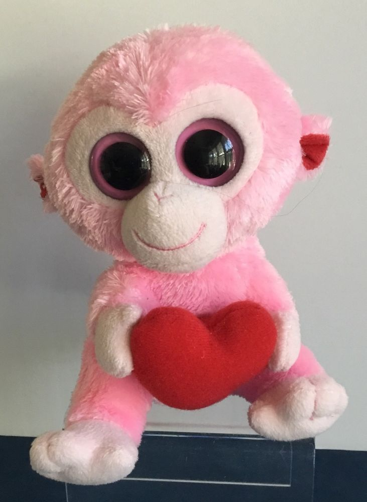9d9c4550ece TY Beanie Boos Julep the Pink Monkey with Heart Plush 2011 Valentine s Day  Love  Ty