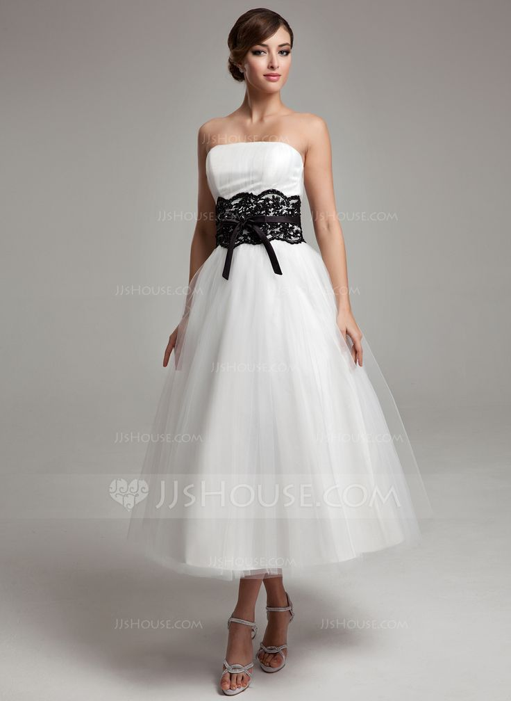 Ball Gown Strapless Tea Length Tulle Wedding Dress With Lace Sash Beading Bow S 002017609
