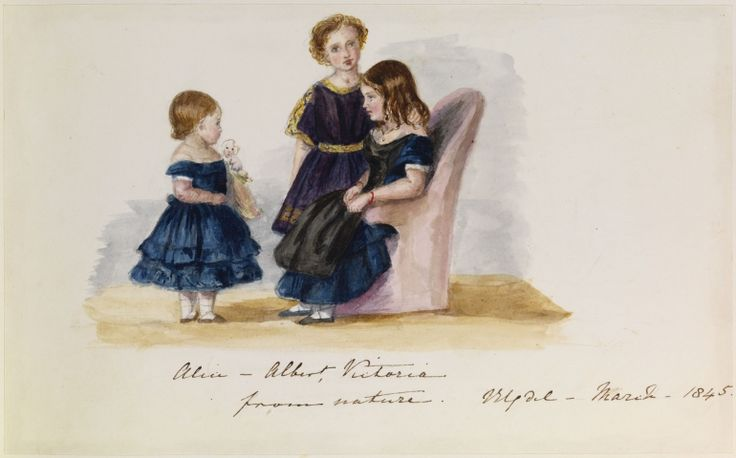 March 1845; Alice, Albert Edward, Victoria, painted by Queen Victoria
