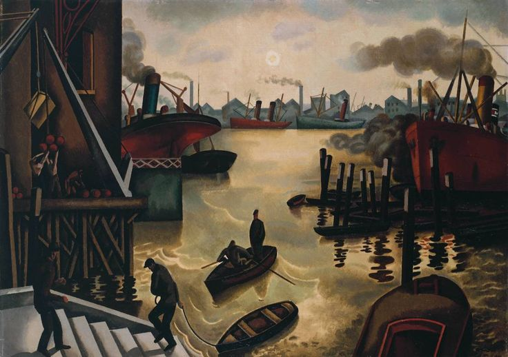 William Roberts (1895‑1980)  The Port of London  Date c.1920-4  MediumOil paint on canvas  Dimensionssupport: 533 x 748 mm frame: 735 x 946 x 78 mm  Collection  Tate  Acquisition Presented through the Friends of the Tate Gallery, Helena and Kenneth Levy Bequest 1990     http://www.tate.org.uk/art/images/work/T/T05/T05761_10.jpg