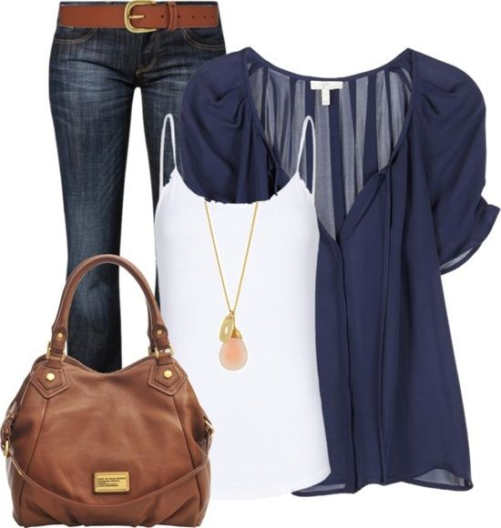 Really cute casual look! Navy chiffon overlay with white tan, jeans and gold accessories.