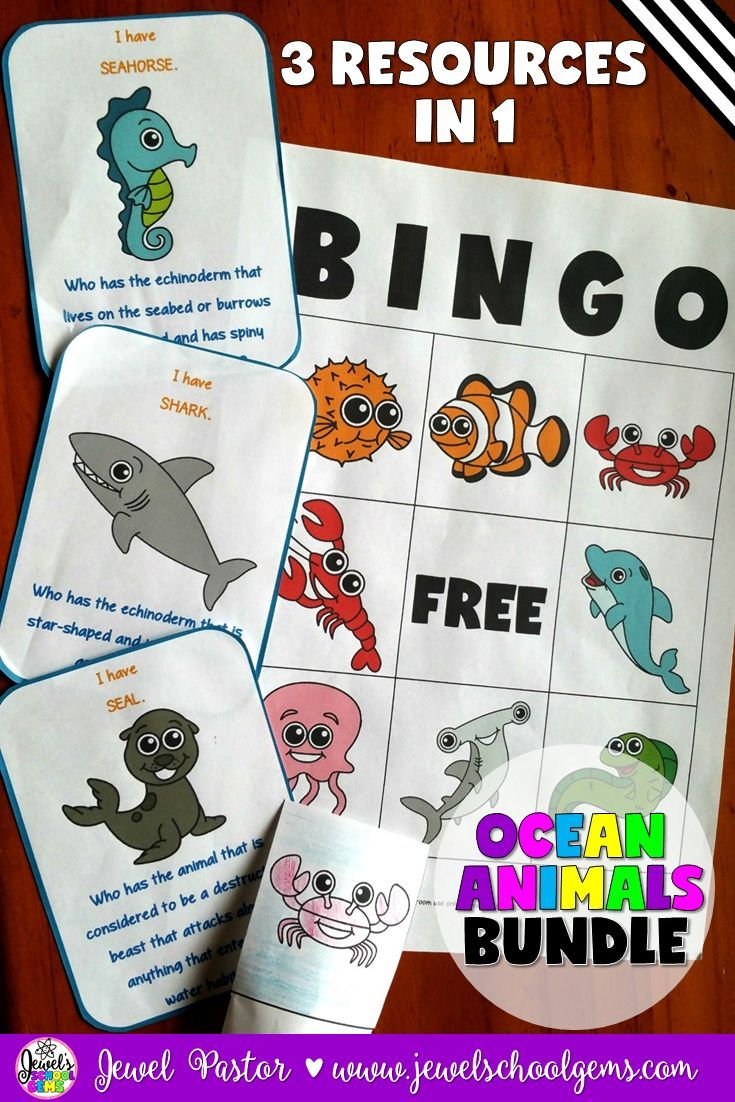 Ocean Bundle (Ocean Animals Bingo, Finger Puppets and I Have Who Has) by Jewel Pastor (TeachersPayTeachers) | OCEAN ANIMALS BINGO: This packet contains instructions, patterns, bingo cards, a call sheet and call cards on 19 types of ocean animals. | OCEAN ANIMALS FINGER PUPPETS: This packet includes an introduction, instructions and 20 ocean animal templates. | OCEAN ANIMALS I HAVE/WHO HAS: This card game has 20 cards with questions about ocean animals. | Buy this bundle to SAVE!