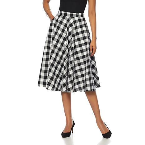 78c4199ba857 Wendy Williams Gingham Cotton Circle Skirt with Pockets