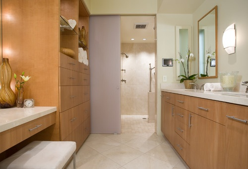 Though curbless showers tend to show up in modern baths, there's no rule that says a traditional bath can't go curbless. Their unbroken appearance and importance when it comes to aging in place and universal access make them an important consideration, regardless of a bath's design style.: Bathroom Design, Shower Design, Condos Bathroom, Bathroom Storage, Bathroom Ideas, Modern Bathroom Tile, Bathroom Cabinets, Contemporary Bathroom, Accessible Bathroom