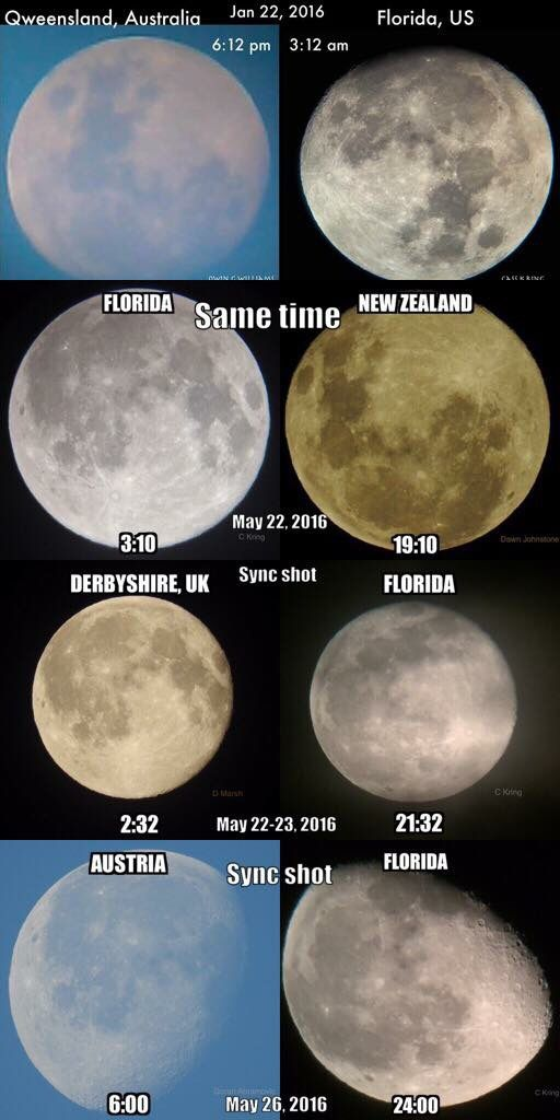 This actually proves round earth. You need to take into account the direction that the camera is facing. These places are seeing the exact same face of the moon and shading, but at different rotation angles regardless of whether they are looking east or west.