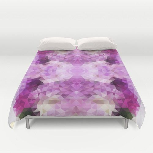 Duvet, Duvet Cover, King Size, Bed cover, King Duvet, Queen Duvet, Art Duvet, Triangle, Violet, Lilac, Flower, Polygon, Geometric, Pattern by NikaLim on Etsy https://www.etsy.com/listing/202044645/duvet-duvet-cover-king-size-bed-cover