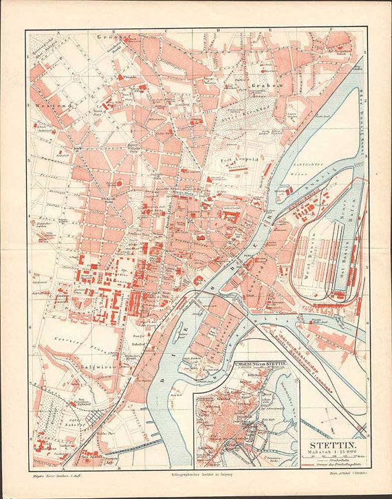 Szczecin / Stettin Antique City Map from 1897  by KuriosartAntique
