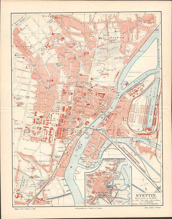 Szczecin / Stettin Antique City Map from 1897  by KuriosartAntique