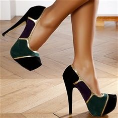 Navy, green and gold high heals