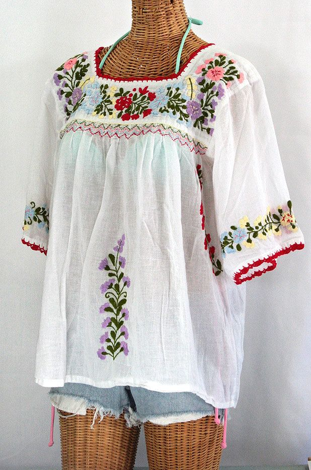 Mexican Embroidered Blouses | Mexican Peasant Blouse Top Hand Embroidered