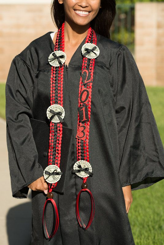 Graduation Money Lei Red Black by JKBgifts on Etsy…
