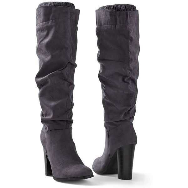 Venus Women's Block Heel Boot ($69) ❤ liked on Polyvore featuring shoes, boots, grey, knee-high boots, grey boots, zipper boots, gray boots, grey high heel shoes and knee boots