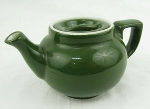 Vintage Hall Pottery China Individual Dark Green Teapot Indent Lid Restaurant