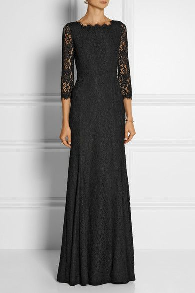 This season Diane von Furstenberg translates the universally flattering 'Zarita' dress into a stunning lace gown. Fitted through the bodice, waist and thigh, this piece opens to a sweeping fluted hem. Work yours with statement earrings and a patterned clutch.  Black lace Concealed hook and zip fastening at back 70% rayon, 30% nylon; lining1: 97% polyester, 3% spandex; lining2: 100% polyester Dry clean