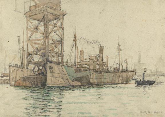 Transports Under the Big Crane, #Portsmouth Harbour #Dazzle #Camouflage #WWI