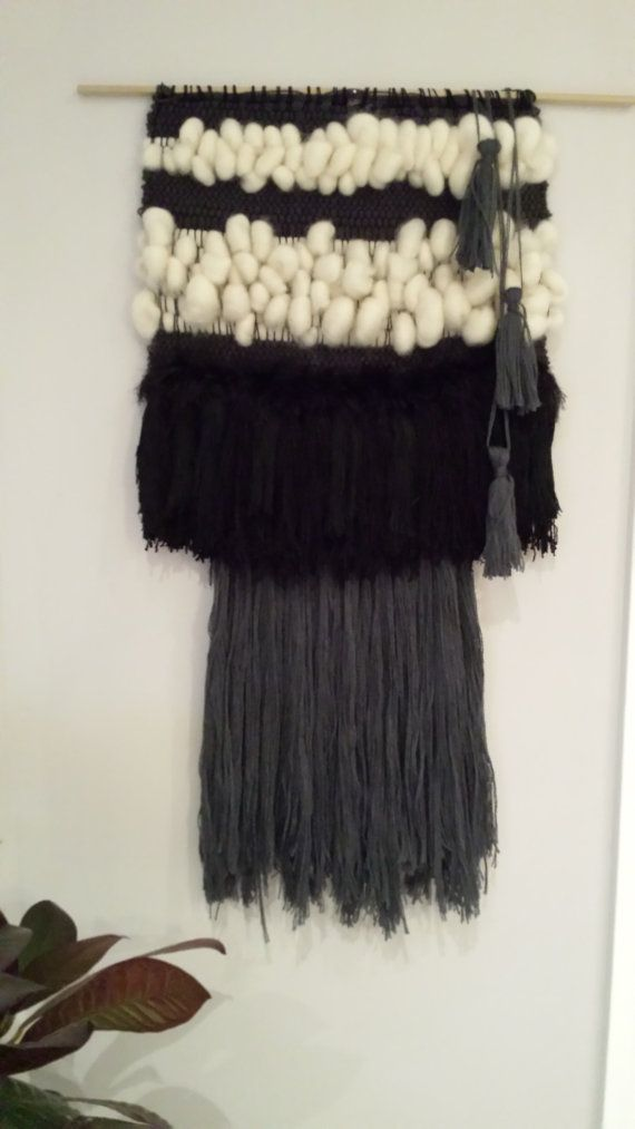 Black and Natural Striped Fiber Wall Hanging with tassels and fringe - Etsy