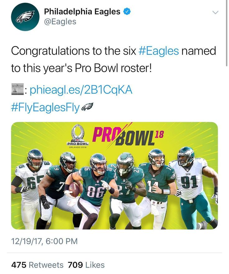 Your #PhiladelphiaEagles Pro Bowl Players that made it to the 2018 NFL Pro Bowl.  #FlyEaglesFly