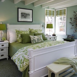 Green, light blue and white bedroom.