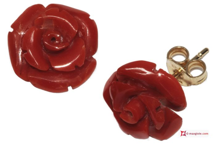 Extra Red Coral Earrings rose 12½mm in Gold 18K [various clasps]  Orecchini Corallo rosso Extra rose 12½mm in Oro 18K [varie chiusure]  #jewelery #luxury #trend #fashion #style #italianstyle #lifestyle #gold #silver #store #collection #shop #shopping #showroom #mode #chic #love #loveit #lovely #style #beautiful #pretty #madeinitaly #bestoftheday #earrings #earringsforsale