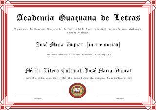 Academia Guaçuana de Letras: A inauguração da medalha José Maria Duprat