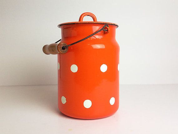 Soviet Enamel Milk Can Orange Polka Dot Retro by RigaVintage