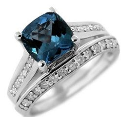 2.40ct Cushion London Blue Topaz & Diamond Matching Engagement Ring Set 14k White Yellow Rose Pink Gold
