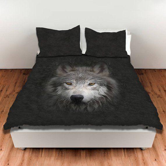 Wolf Face Duvet Cover Wildlife Bedroom Decor King Duvet Cover
