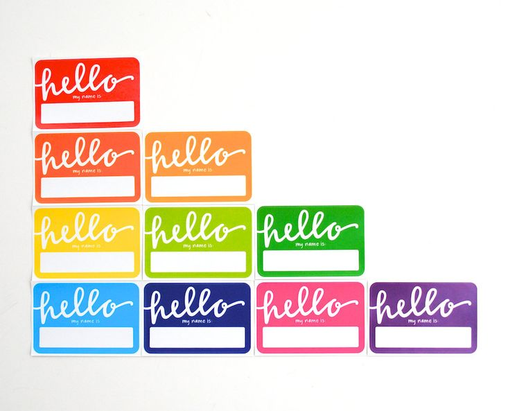 Rainbow Name Tags with Modern Calligraphy . Hello My Name Is.