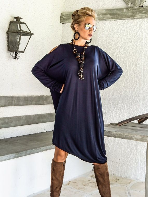 Blau Marine asymmetrischen Dress  Bluse  Tunika von SynthiaCouture