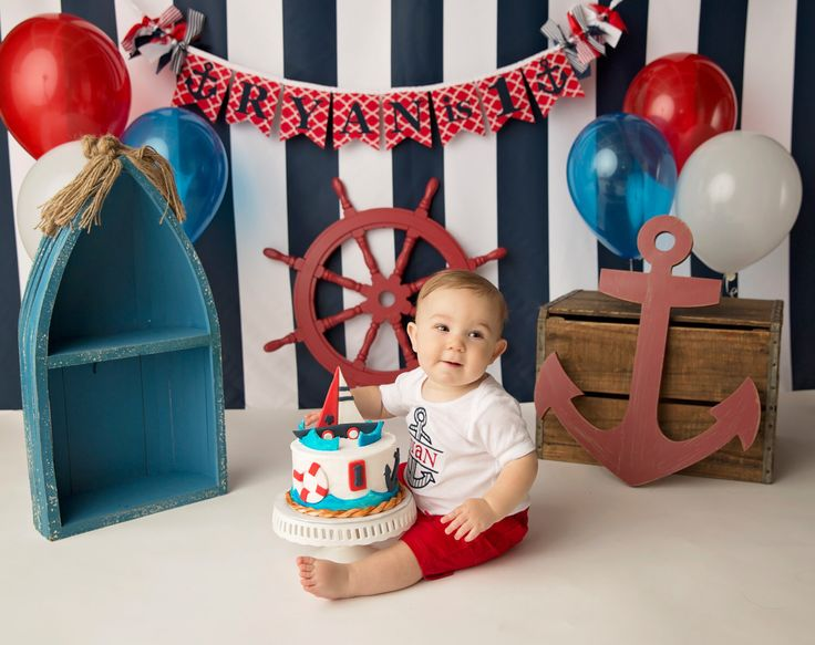 NAUTICAL SMASH CAKE Banner / 1st birthday boy / First Birthday Banner / 1 Year Old Birthday Boy / Cake smash boy / Name banner for nursery / by SweetGeorgiaSweet on Etsy https://www.etsy.com/listing/239084063/nautical-smash-cake-banner-1st-birthday