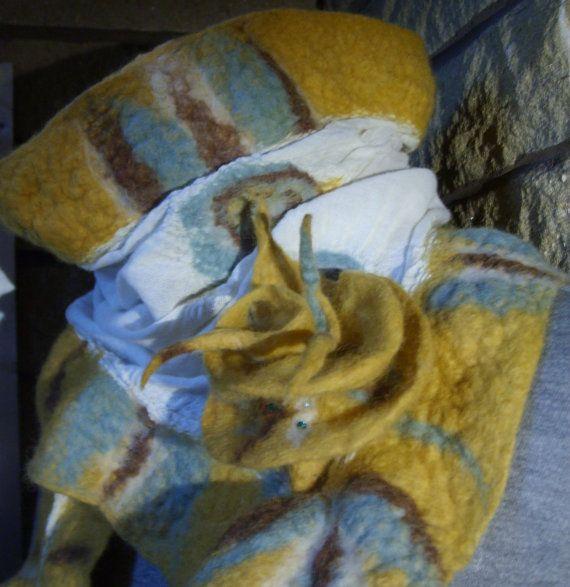 Mustard Nuno felted scarf by Beautifulfelts on Etsy, $60.00