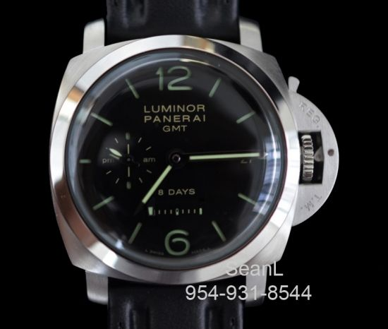 Panerai 233 Luminor 1950 GMT 8 Days Manual Wind 44mm Stainless Steel  http://www.collectionoftime.com/specification.php?wid=141=16=12