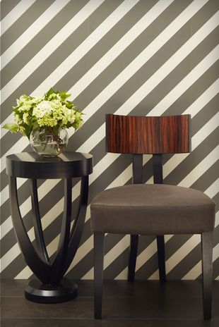 Porters Paints Diagonal Stripe in Basalt. Furniture kindly supplied by James Salmond.