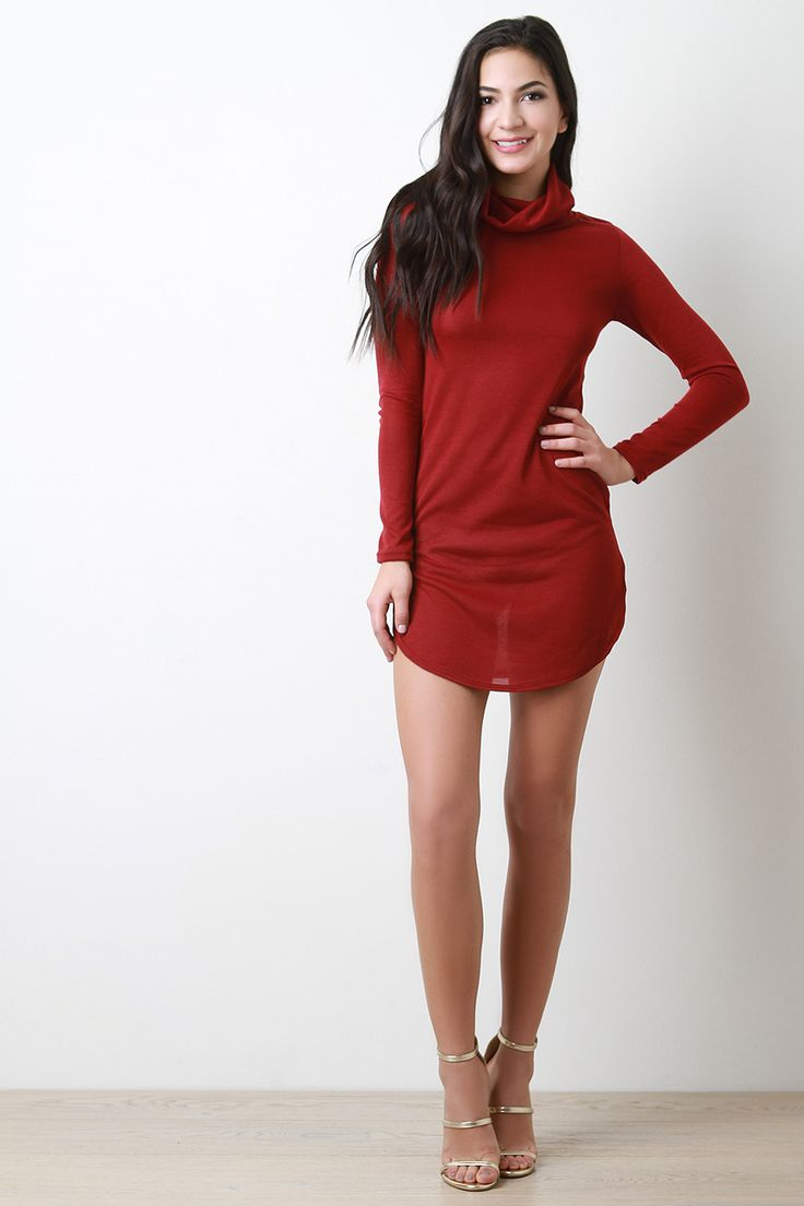 FREE SH & Easy Returns! Shop the Cowl Neck Long Sleeve Tunic Dress featuring bodycon tunic fit, cowl neck, long sleeves, and round hem with high side slits.