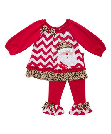 Another great find on #zulily! Red Chevron Santa Tunic & Leggings - Infant #zulilyfinds