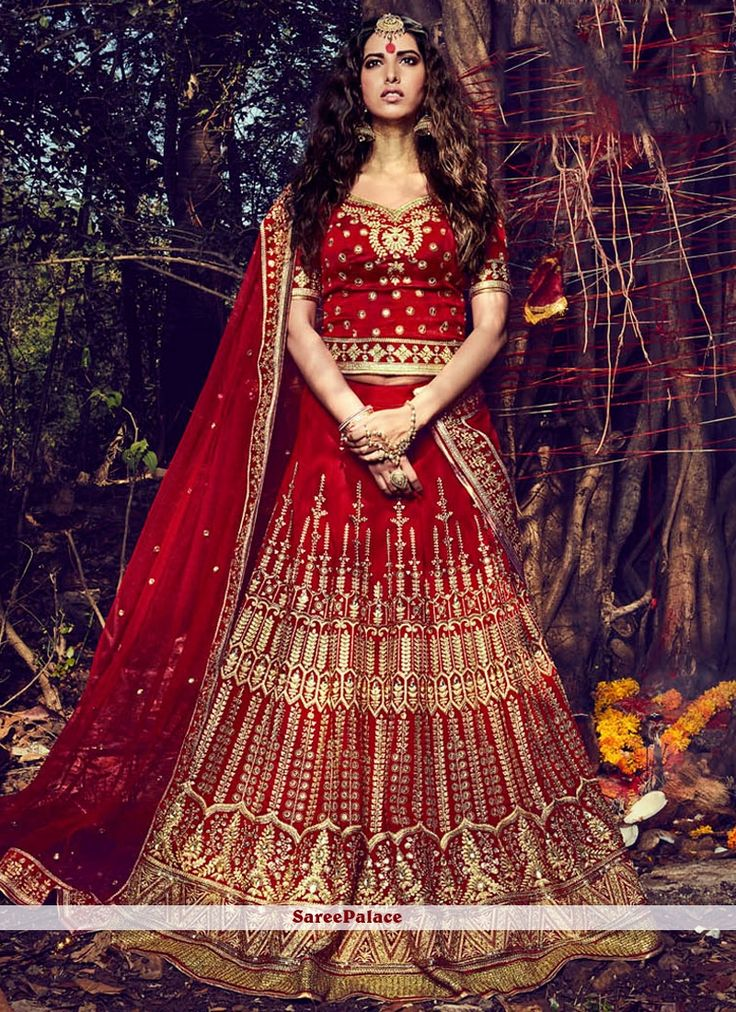 Subtle Bhagalpuri Silk Red Lehenga Choli
