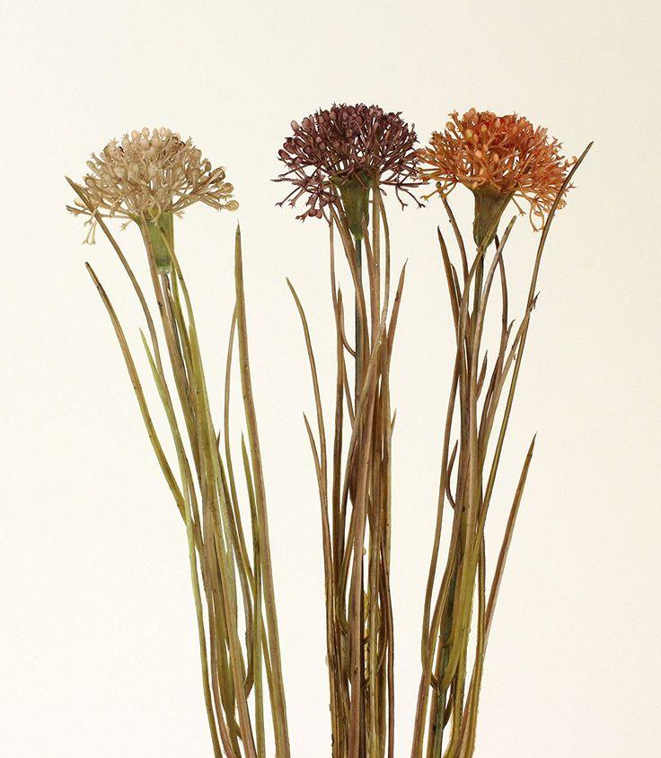 Set di 3 fiori artificiali, della pianta dell'aglio, colore: beige, arancione, rosso, 49 cm: Amazon.it: Casa e cucina