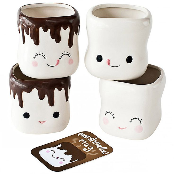marshmallow smiling faces hot cocoa mugs chocolate