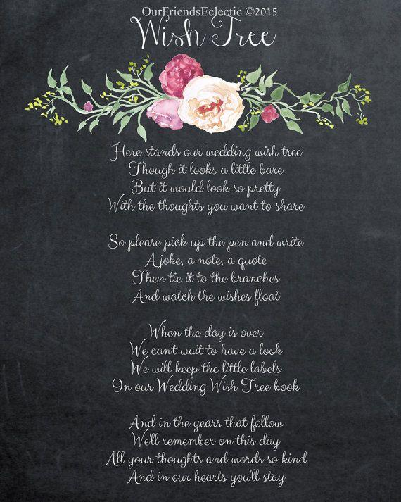 Digital Downloadprintable Diy Signchalkboard Wedding Signwish Tree Signwish Tree Poem