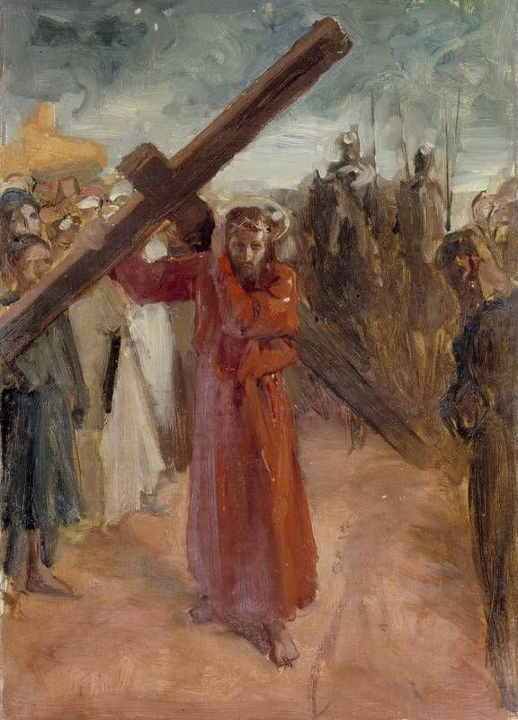 "Albert Edelfelt (1854-1905) ""Christ Is Carrying The Cross"", ca. 1890 - oil on canvas - Ateneum"