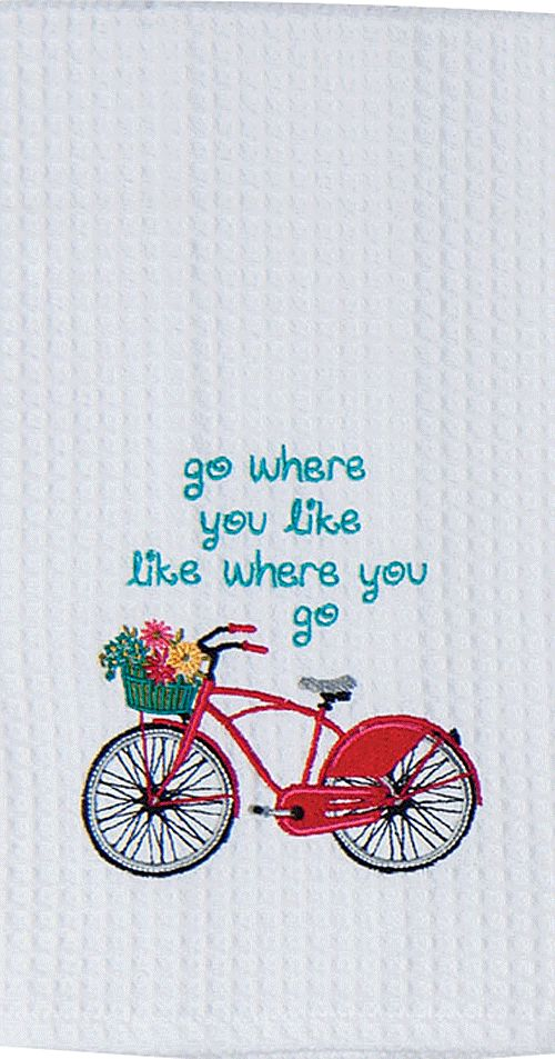 """Vintage Red Bike Life Quote Embroidered 100% Cotton Waffle Dish Towel / Tea Towel, 18"""" x 28"""""""