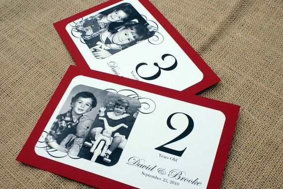 Through the Years  Personalized Photo Table by JonesStreetPress, $4.10- wedding table number option