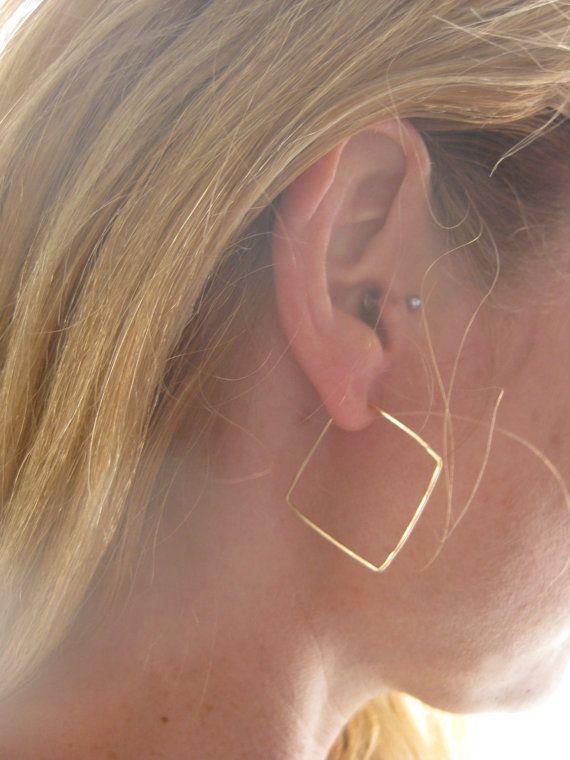 Gold Hoop Earrings Diamond Hoop Earrings by LotusHandmadeHoops